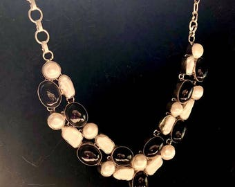 Striking pearl and onyx silver necklace