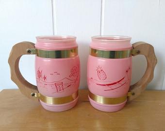 vintage pink tropical Siesta Ware mugs