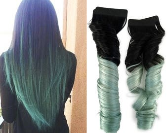 READY TO SHIP Pastel Rainbow Tape in Human Hair Extensions Ombre Mint Green Balayage with #1 Jet Black Dark Root
