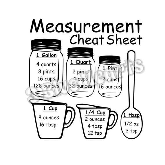 Measurement Cheat Sheet Svg Studio Dxf Pdf Cutting Board Svg