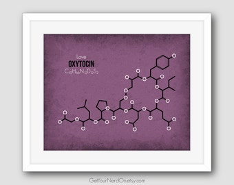 Molecule Poster, Oxytocin, Gifts for Nerds, Nerdy Science Art, Best Seller