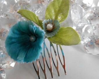 Blue floral garden wedding hair comb