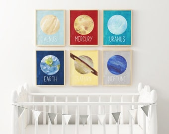 PRINTABLE Planet Solar System Art - Set of Six  - Nursery art - Science - Planets - Outer space - Primary Colors - Red - Blue - SKU:8996