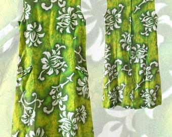 60s Hawaiian Barkcloth Shift Dress