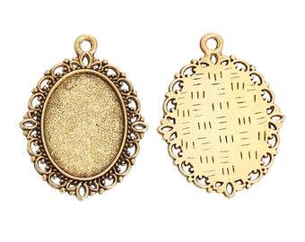 10 Antique Gold Cabochon Settings (Fits 18mm x 13mm ) 29mm x 22mm  (B462e)