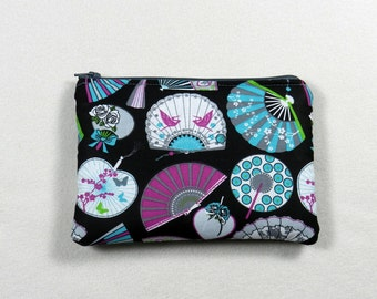 Zipper pouch - Makeup bag - Cosmetic bag - Travel pouch - Pencil case  - Elegant fans -  Fun makeup bag - Black fabric zipper pouch