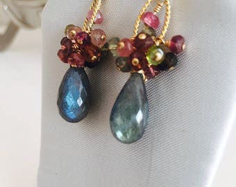 Wire-wrapped Black Labradorite & Tourmaline Dangle Earrings, Gold filled earrings,  Artisan Jewellery, Unique Gift