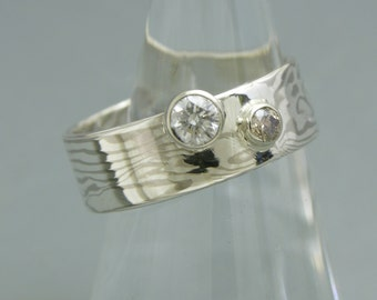 14k White Gold and Sterling Silver Mokume - Gane and Diamond Ring