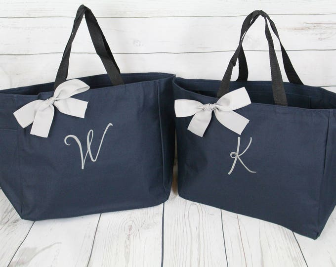 2 Personalized Bridemaid Gift Tote Bags Monogrammed Tote, Bridesmaids Tote, Personalized Tote Wedding