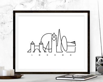 London Graphic Art Print, London Poster, London Art, Big Ben Poster, London Print Typography, Big Ben Print, Minimalist Print, Travel Poster