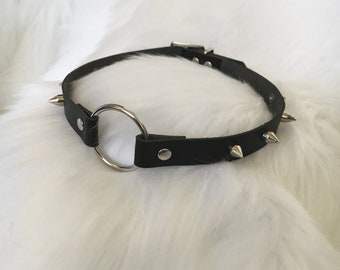 Black Spiked Faux Leather O-ring Collar (Free UK Shipping)