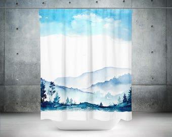 Scenic Shower Curtain | Blue Shower Curtain | Mountain Shower Curtain | Blue Bathroom Decor | Blue Bath Curtain