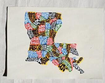 Louisiana Map Wall Art | LA poster | acrylic painting | home decor, map of Louisiana
