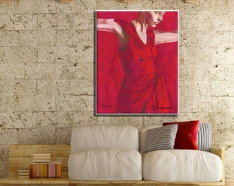 Wall Canvas Art, Fine Art Prints, Red Wall Art, Red Wall Decor, Dance Wall Art, Dance Wall Decor, Sensual Art, Art on Canvas, Canvas Art