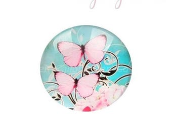 30mm pink and blue butterfly glass cabochon