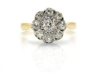 Daisy ring antique diamond