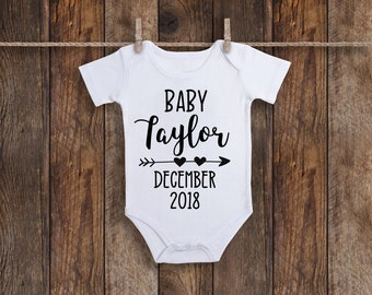 Baby Announcement Onesie, Personalized Onesie, Bodysuit, Pregnancy Announcement Onesie, Pregnancy Reveal, Baby Onesie, Custom Baby Onesie