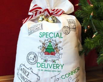 Personalized Embroidered Christmas Santa Sack - Christmas Sack- Personalized Santa Sack-kids Christmas direction -