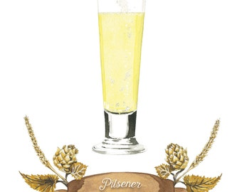 Pilsener Bier Aquarell Illustration