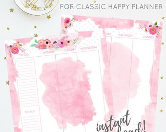 Weekly Insert | Pink Floral Watercolor Printable Insert Series | For Classic Happy Planner | Instant Digital Download | Planner Insert | PDF