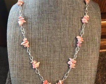 Sterling Silver Rhodochrosite Stone Necklace