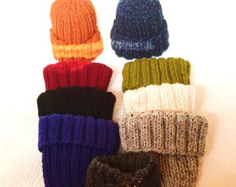 Hand knit thick and warm cuff hat. Multiple colors and sizes