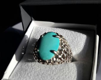 Men's Silver and Turquoise Handmade Ring Size 10