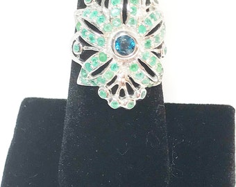 Retro 2.5 Ct Emerald and London Blue Topaz 925 Sterling Silver Ring Size 9