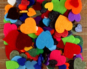 Over 100 Mixed, 3mm Felt Heart Shapes (2cm-4cm) Choose From 11 Colour Options