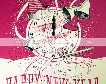 Vintage Antique Happy New Year's Greeting Card Art Image - Digital Download Printable - Paper Crafts Scrapbook Altered Art - New Year Card