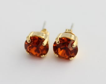 Madeira Topaz earrings, Madeira earrings, Topaz earrings, Fall earrings, Fall wedding, burnt orange earrings, topaz stud earrings, post