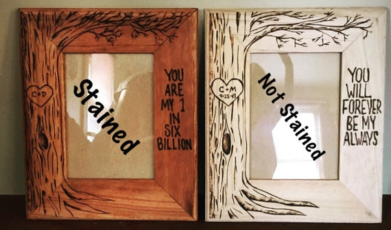 valentines gift tree picture frame wood burning art gift frame anniversary gift wedding gift 5 x 7 love you bigger than world - Wood Burning Picture Frame