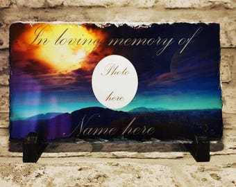 Personalised In Loving Memory Print Slate Plaque With Photo, Poem & Stands