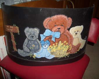 """Hand painted stovepipe with 4 teddies and a """"we are Family"""" sign"""