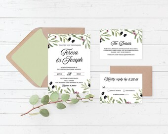 Tuscan Mediterranean Italian Printable Wedding Invitation Suite, Italy, Greek, Olives, Tuscany, Greenery Custom Printable Wedding Invite Set