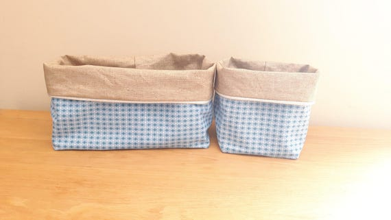 Changing Table Baskets, Basket Layer And Linen Storage Basket Coated Fabric  And Blue Stars