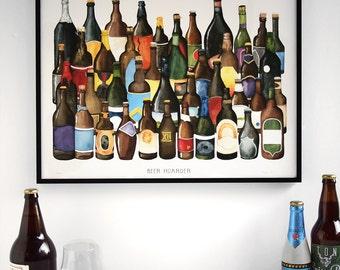 Beer Hoarder Craft Beer Watercolor Poster