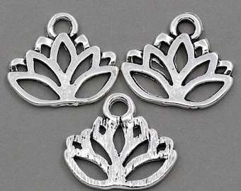 5 Antiqued Silver Lotus Flower Charms