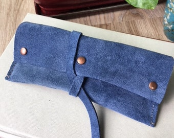 Blue Suede Leather Sunglasses Case