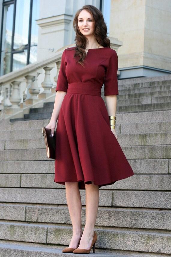 Plus Größe Kleid Cocktailkleid roten Kleid Burgund Frauen