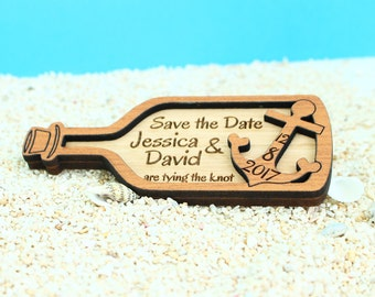 Nautical Save The Date Magnet, Custom Wood Save The Date, Save the date, Wood Save The Date Magnet, Wood Wedding Save the Date, Anchor