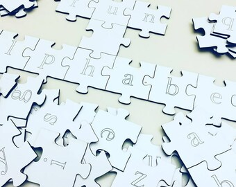 70 A-Z Alphabet Puzzle Pieces | Word Game | Teaching Material