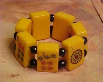 Lucky 7 Seven Amber  BAkELITE Mah Jong Bracelet Lucky Gorgeous Jan Carlin