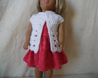 "Crocheted vest and dress for18"" dolls"