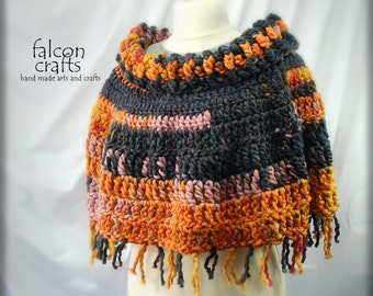 womans short  crochet chunky poncho,wrap cape shawl, acrylic boho poncho, autumn colours,size 14 to 16, red,yellow orange blue, short poncho