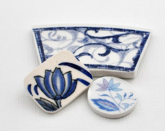 Broken China Mosaic Tiles - Focal Tiles -Recycled Plates - Cobalt Blue - Flower - Swirls - Set of 3