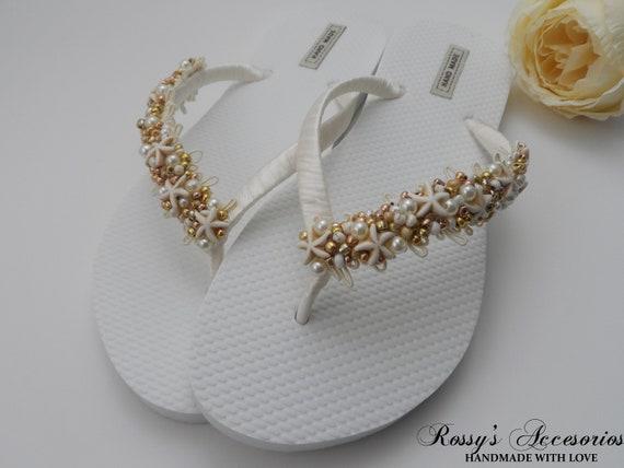 Bride Party Glass Flip Gift Flip Shower Wedding Flip Gold Flops Wedding Starfish Natural Beach Bridal Pearls Flops Flops BwO668