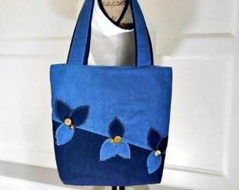 Denim Handbag for Women Work Tote Bag, Denim Bag, Denim Shoulder Bag, Navy Blue Purse, Tote Bag with Pockets, Laptop Tote, Crossbody Bag