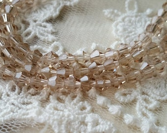 4 mm Champagne Color Rhombus Shape Crystal Beads (.ms)