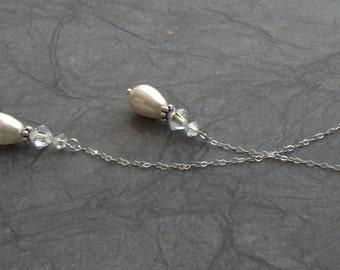 Bridal Pearl Drop Lariat- bride, wedding, bridal, bridesmaid gift